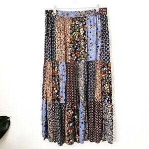 Bobbie Brooks Boho Floral Patchwork Maxi Skirt 426